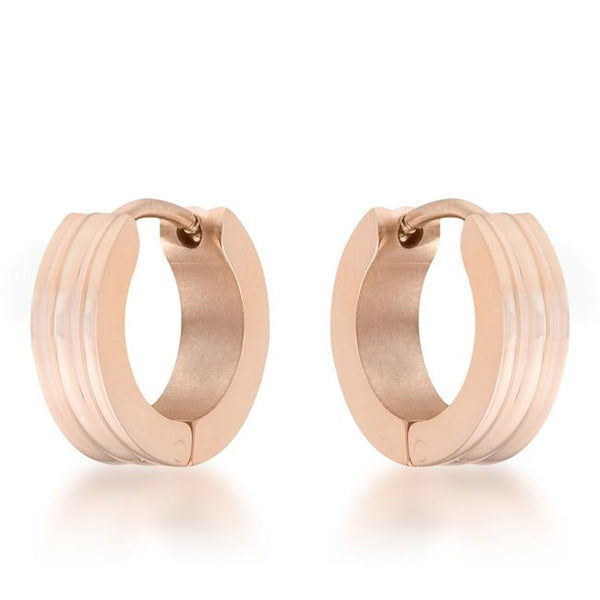 Marlene Rose Gold Stainless Steel Small Hoop Earrings - THE LUSTRO HUT