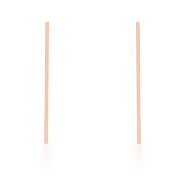 Carolee Rose Gold Stainless Steel Long Line Drop Earrings - THE LUSTRO HUT