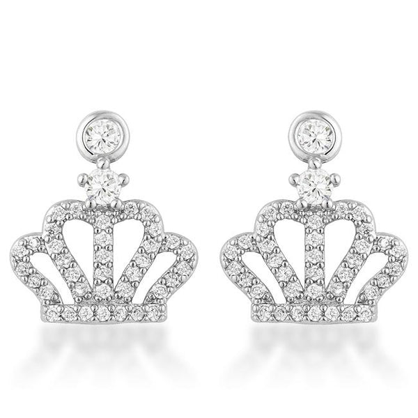 0.5 Ct Rhodium Crown CZ Earrings - THE LUSTRO HUT
