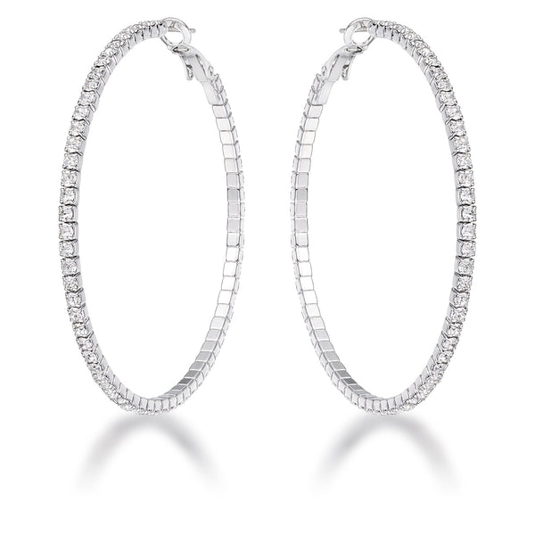 3.85Ct Silvertone Cup Chain Hoop Earrings - THE LUSTRO HUT