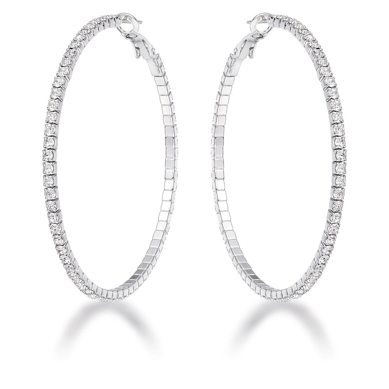 3.85Ct Silvertone Cup Chain Hoop Earrings