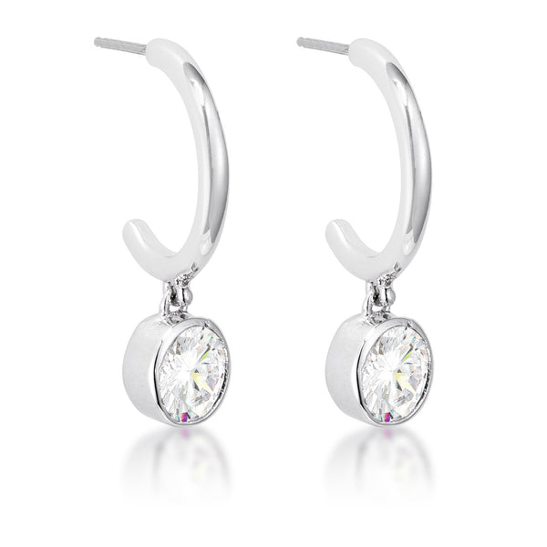 7mm Cz Rhodium Plated Drop Hooplet Earrings - THE LUSTRO HUT