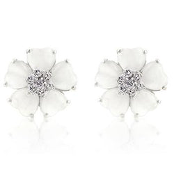White Flower Nouveau Earrings - THE LUSTRO HUT