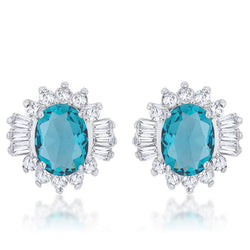 Chrisalee 3.3ct Aqua CZ Rhodium Classic Stud Earrings - THE LUSTRO HUT