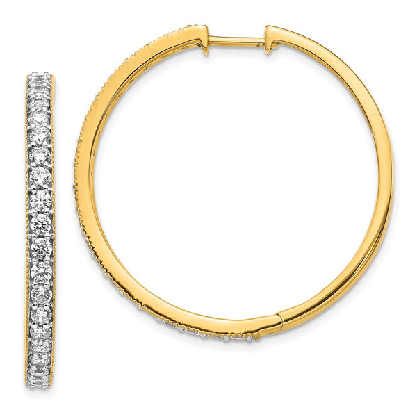 14k Yellow Gold Diamond Milgrain Hoop Earrings