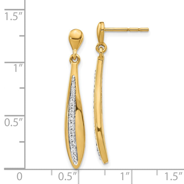 14k Yellow Gold Diamond Post Earrings