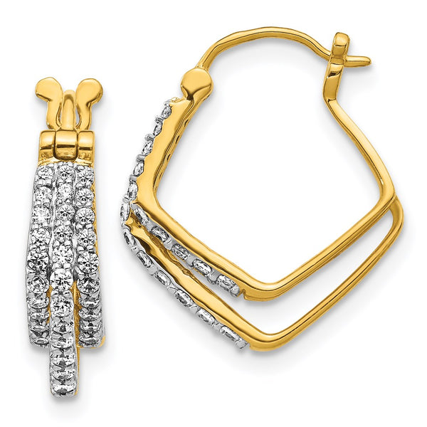 14k Yellow Gold Diamond Hoop Earrings