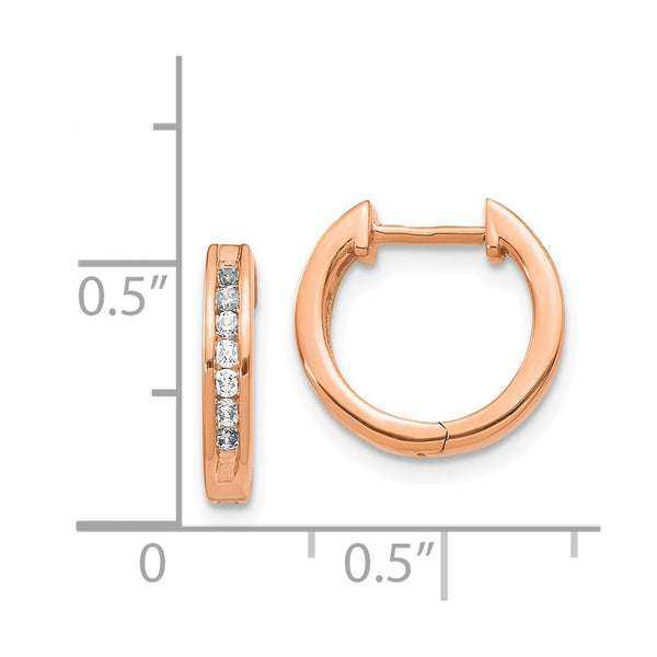 14k Rose Gold Diamond Hinged Hoop Earrings