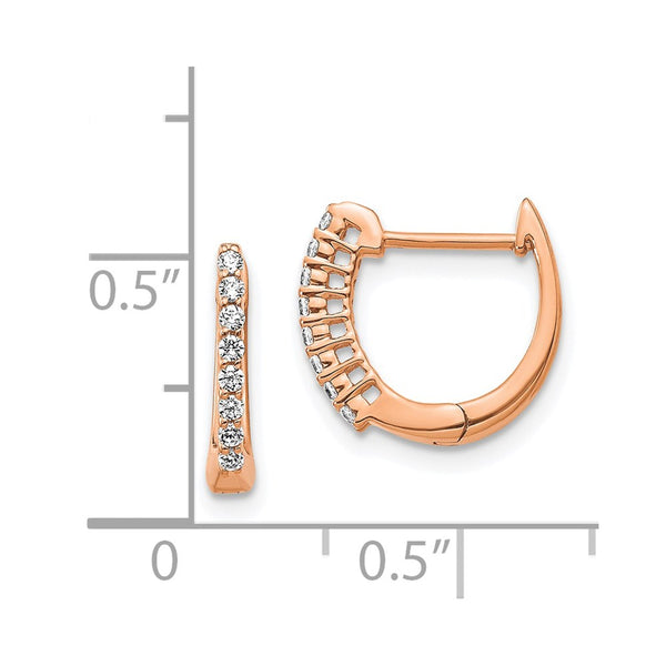14K Rose Gold Polished Diamond Hinged Hoop Earrings