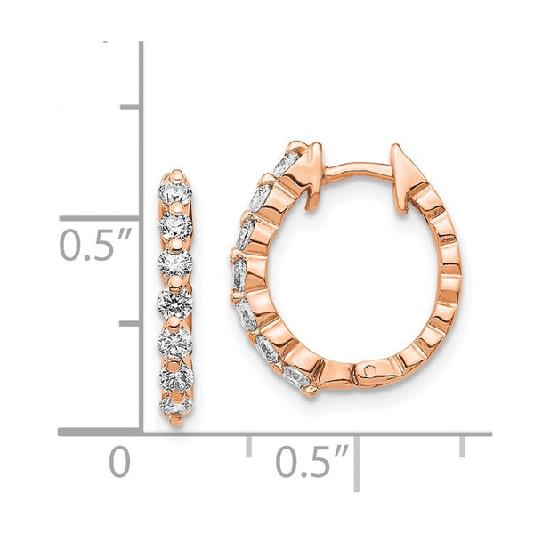 14k Rose Gold AA Diamond Hinged Hoop Earrings