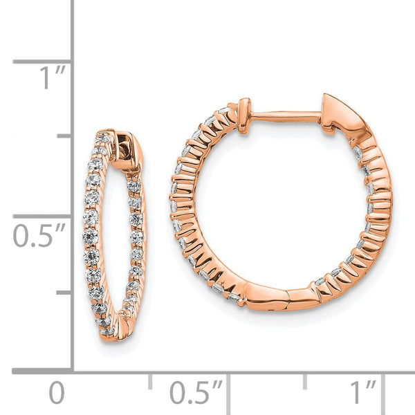 14k Rose Gold Polished Diamond In and Out Hinged Hoop Earrings