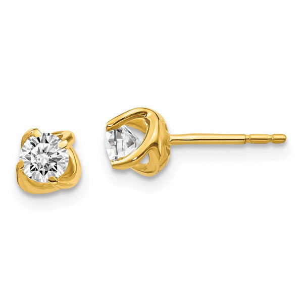 14k Yellow Gold Fancy Twist Diamond Earrings