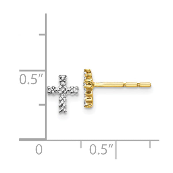 14k Yellow Gold & Top Surface Rhodium-plated Diamond Cross Post Earrings