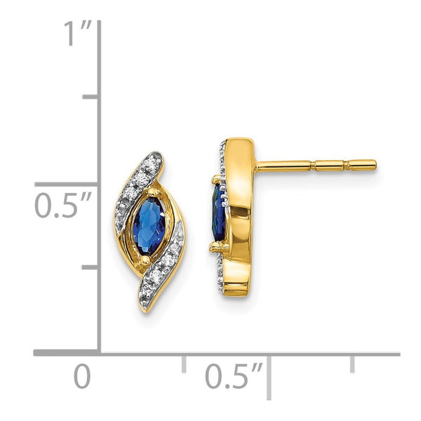 14k Yellow Gold Diamond & Sapphire Earrings