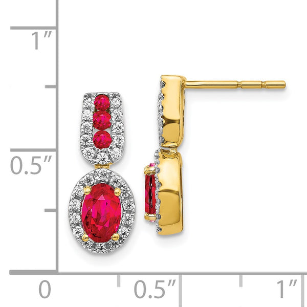 14k Yellow Gold Diamond & Ruby Earrings