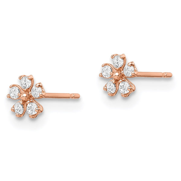 14k Madi K Rose Gold Flower CZ Post Earrings