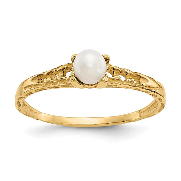 14k Madi K 3mm FW Cultured Pearl Birthstone Baby Ring