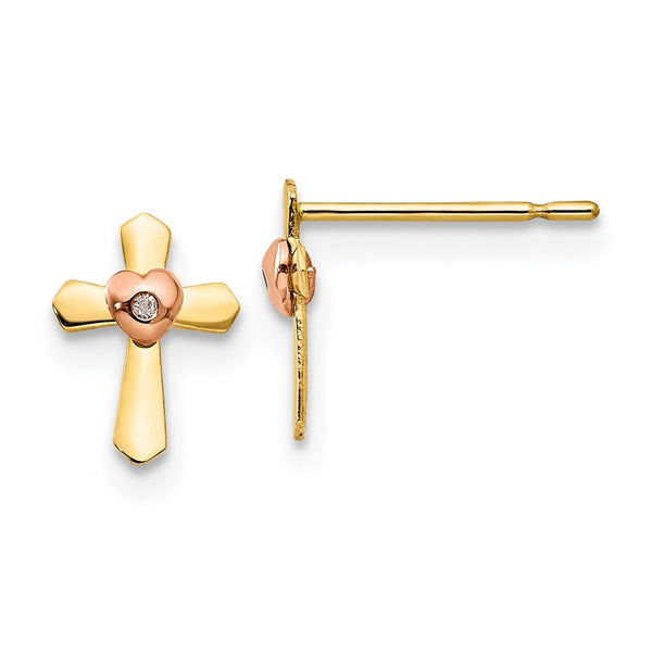 14k Yellow & Rose Gold Madi K Children's Cross Heart Post Earrings