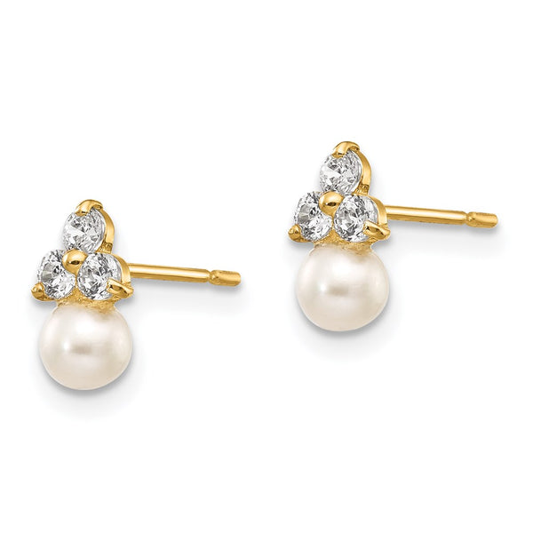 14k Madi K CZ and FW Cultured Pearl Post Earrings