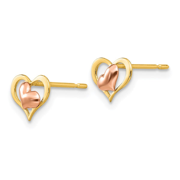 14k Yellow & Rose Gold Madi K Children's Heart Post Earrings
