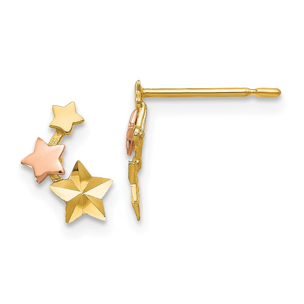 14k Yellow & Rose Gold Madi K D/C Children's Star Post Earrings