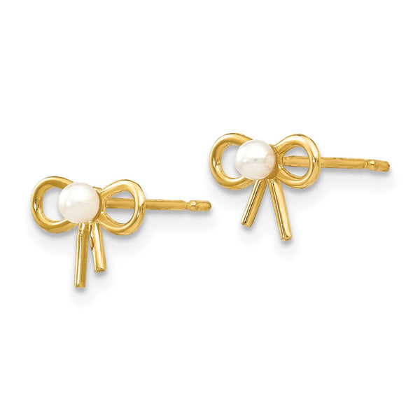 14k Madi K FW Cultured Pearl Children's Bow Post Earrings