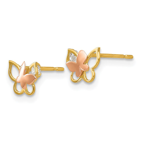 14k Yellow & Rose Gold Madi K CZ Children's Butterfly Post Earrings