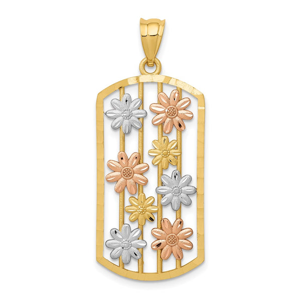 14k Yellow & Rose Gold w/Rhodium Framed Daisy Pendant