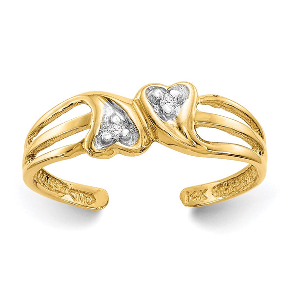 14k Double Heart .02ct Diamond Toe Ring