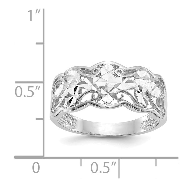 14k White Gold Diamond-cut Wave Ring