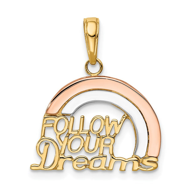 14k Y&Rose Gold W/Rhodium Follow Your Dreams Rainbow Pendant