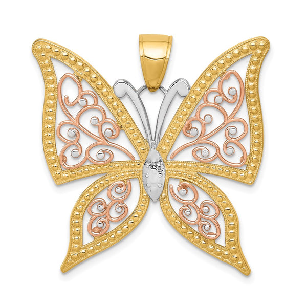 14k Yellow & Rose Gold w/Rhodium Diamond-cut Butterfly Pendant