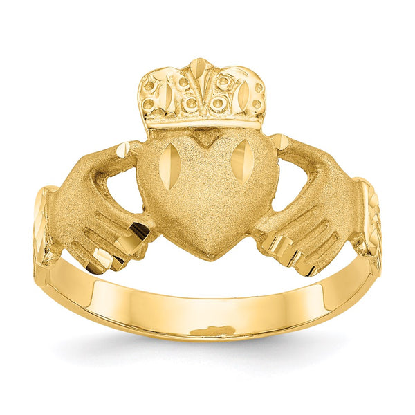 14K Diamond-cut Claddagh Ring