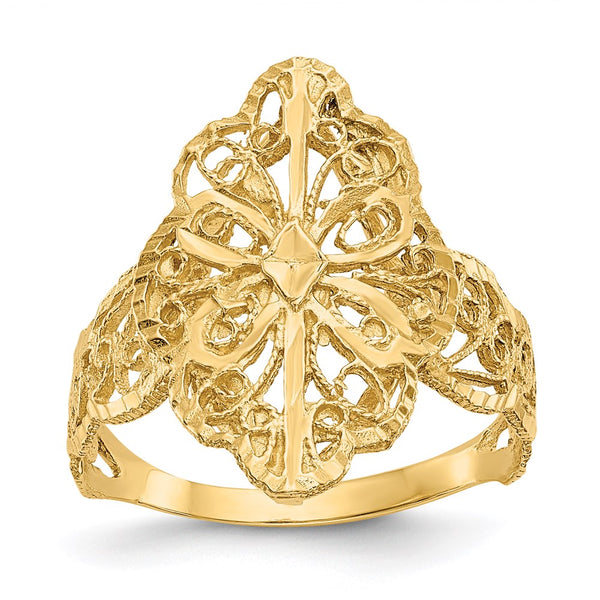 14K Diamond Cut Filigree Ring