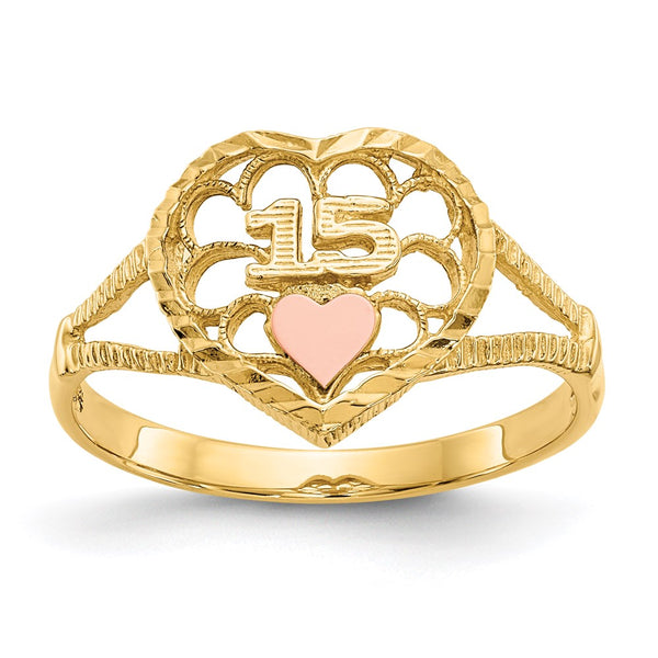 14K Two-tone Diamond Cut 15 Heart Ring