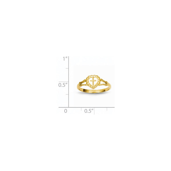 14K Diamond-Cut Childs Heart & Cross Ring