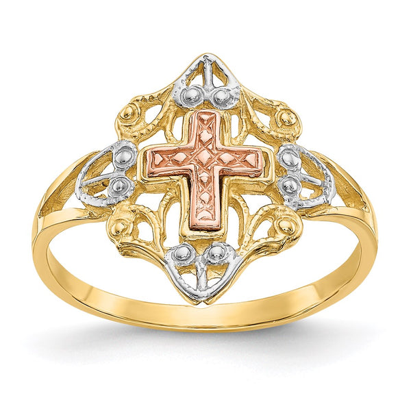 14k Yellow & Rose Gold w/Rhodium Cross Ring