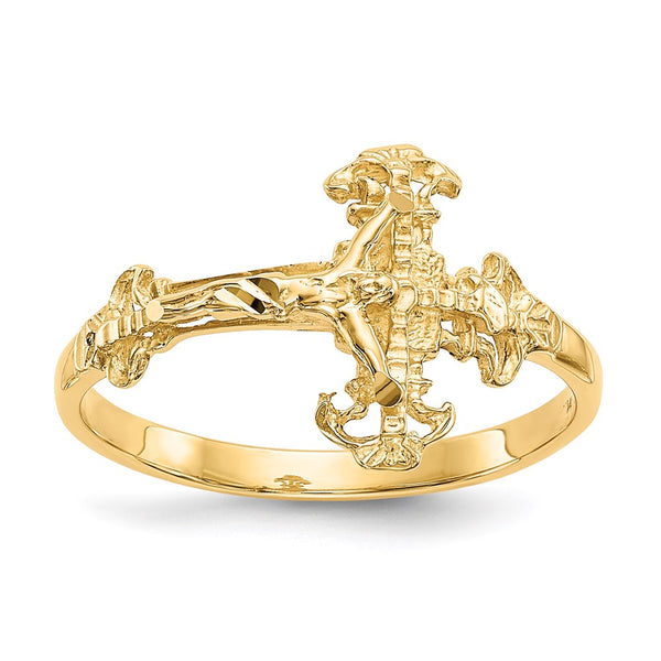 14K Diamond Cut Crucifix Ring