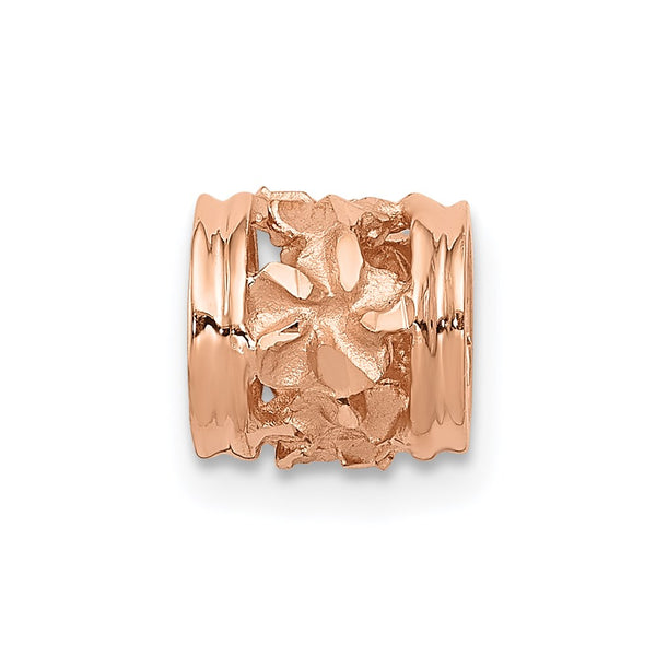 14k Rose Gold Diamond-cut Mini Plumeria Barrel Chain Slide