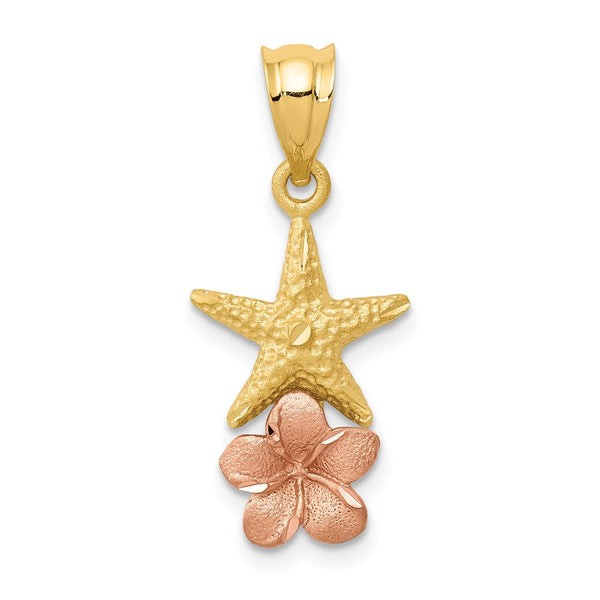 14k Yellow & Rose Gold Starfish w/ Plumeria Pendant