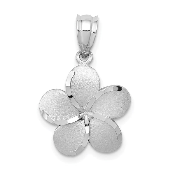 14k Yellow Gold Dipped in White Rhodium Polished Satin D/C Plumeria Pendant