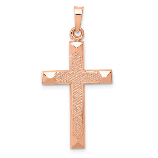 14K Rose Gold Textured and Polished Latin Cross Pendant