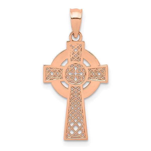 14k Rose Gold Celtic Cross Pendant