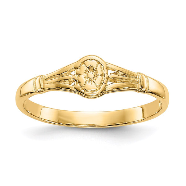 14K Gold Polished Oval Baby Ring