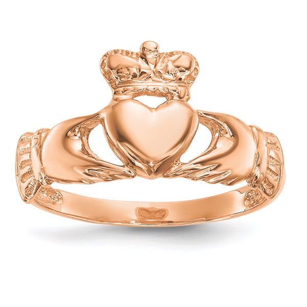 14k Rose Gold Polished Claddagh Ring