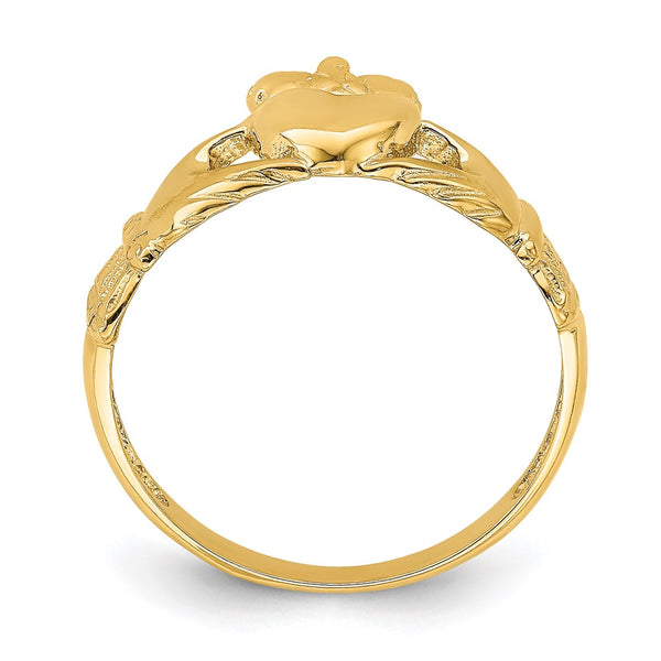 14k Polished Claddagh Ring