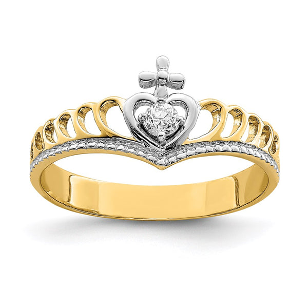 14K White Rhodium CZ Heart Cross Ring