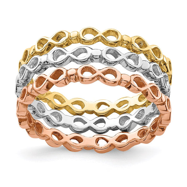 14K Tri-colored Infinity Symbol Ring Set