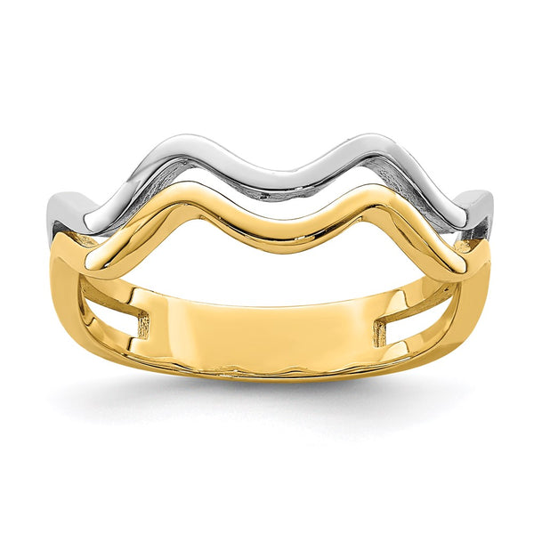14K White Rhodium Wave Ring