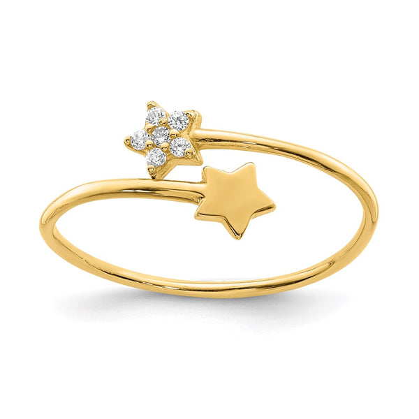 14K Yellow Gold CZ Star Ring